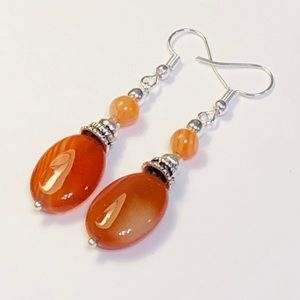 Banded Orange Spice & Rust Agate Earrings